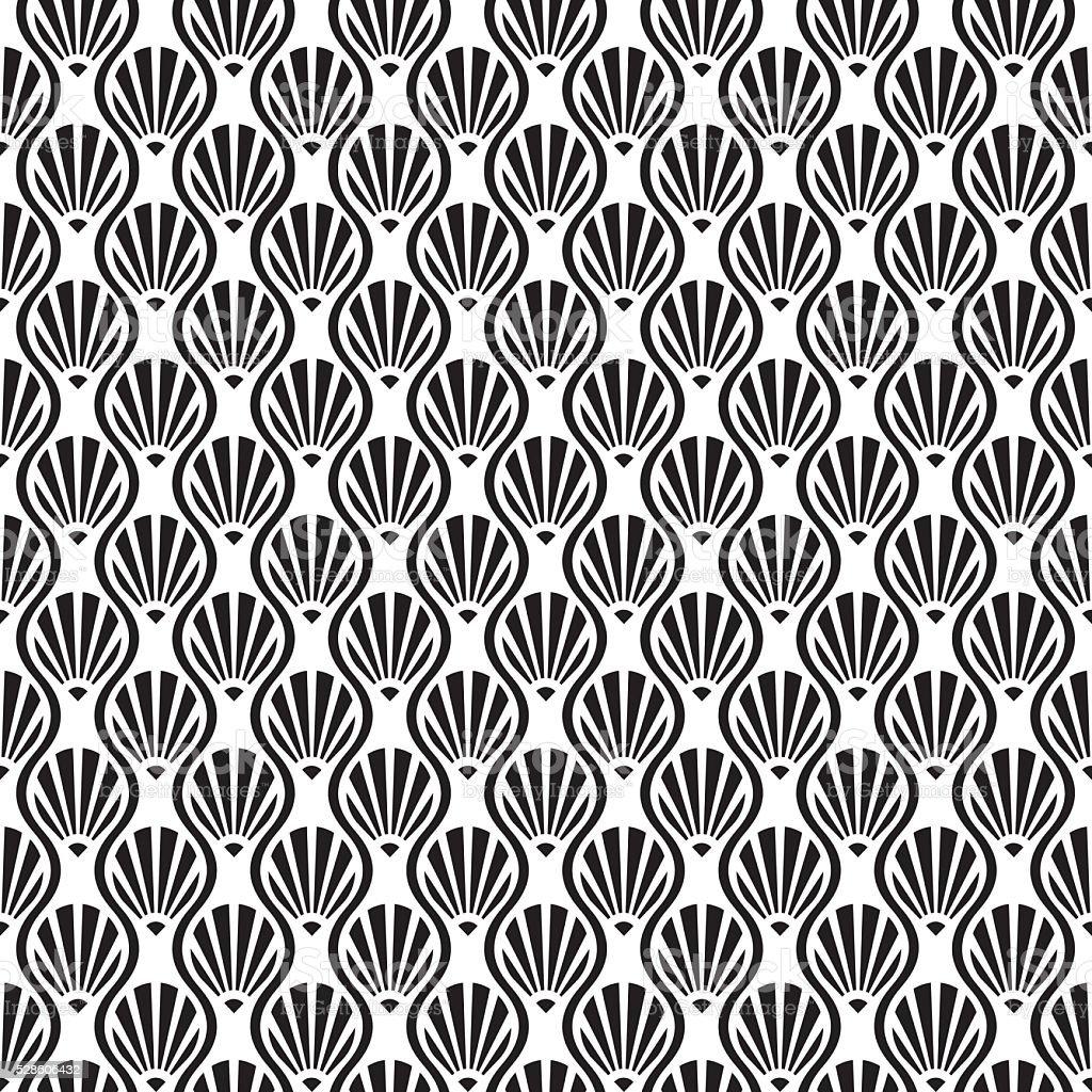Seamless Art Deco Vector Shell Pattern vector art illustration