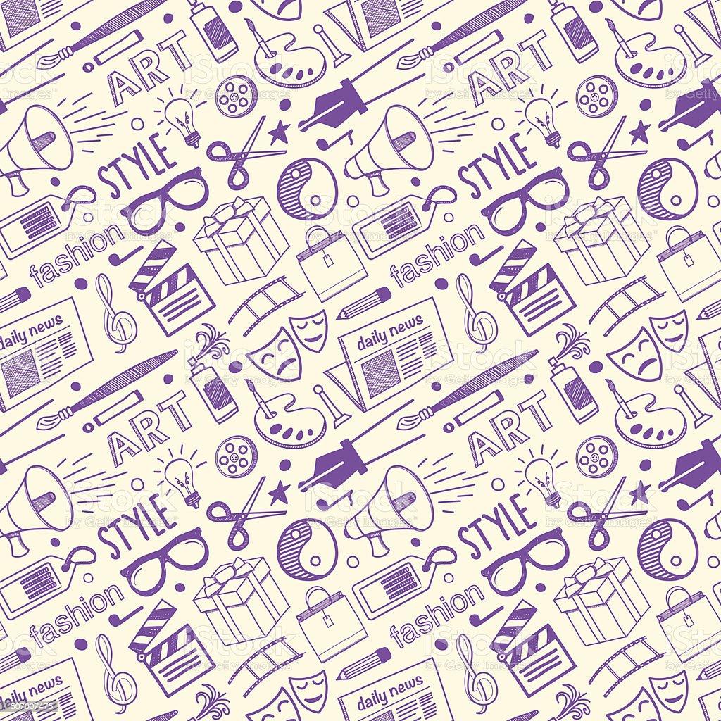Seamless Arts & Styling Pattern vector art illustration