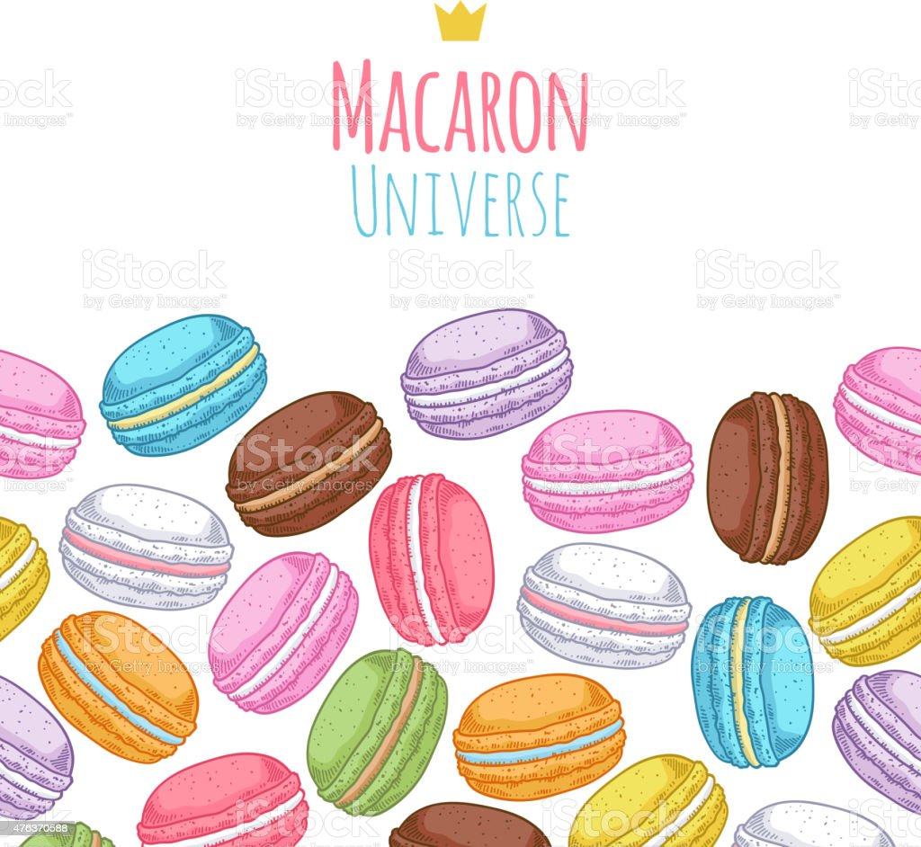 Seamless assorted macarons horiaontal pattern vector art illustration