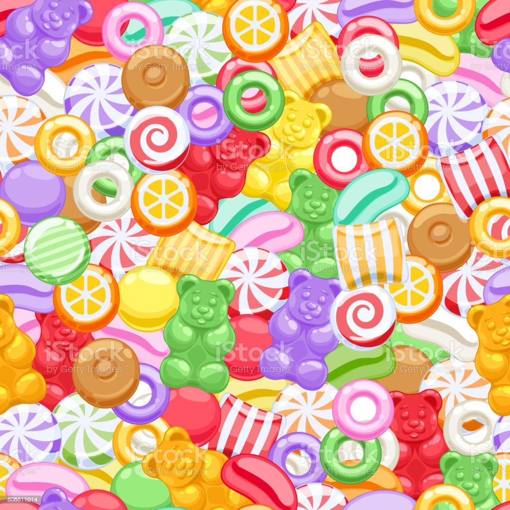 Seamless assorted sweets candies background vector art illustration
