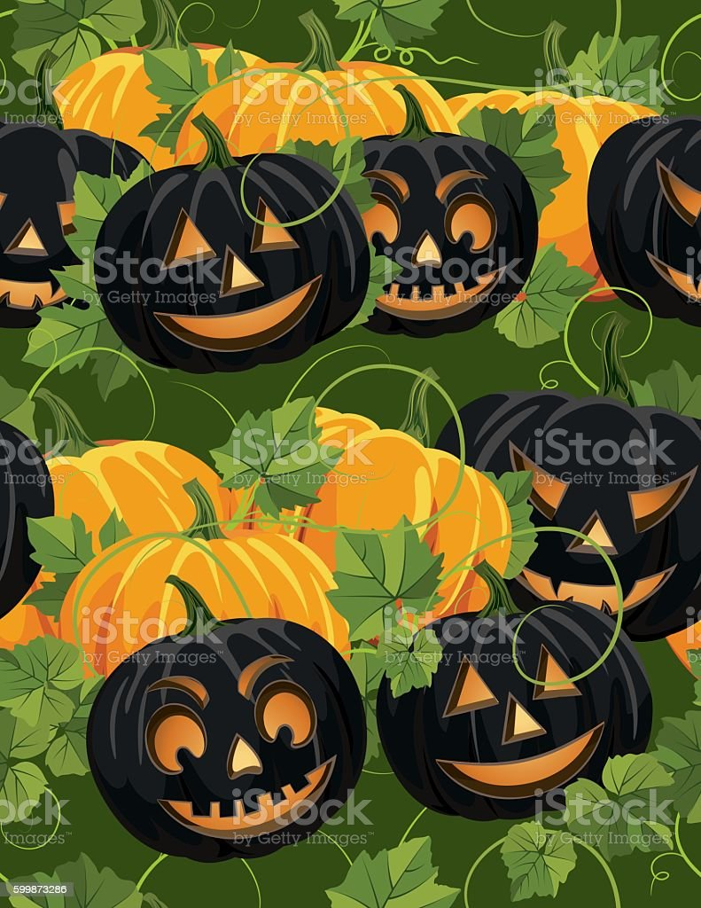 Seamless Autumn halloween Background Pattern vector art illustration