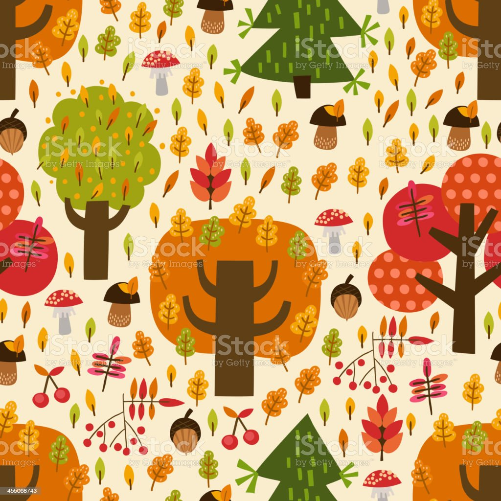 Seamless autumn pattern with trees, mushrooms, leaves, berries royalty-free stock vector art