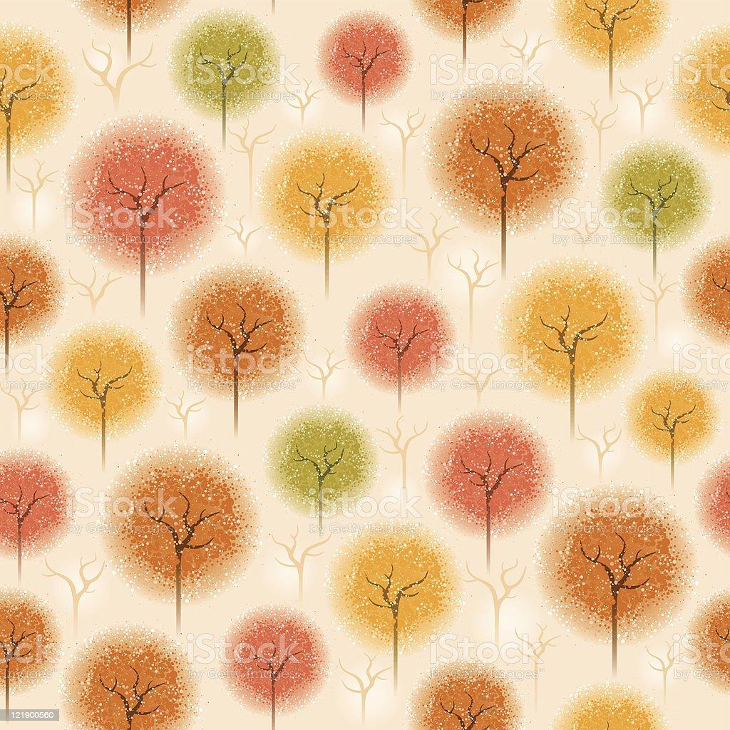 Seamless autumn tree pattern royalty-free stock vector art