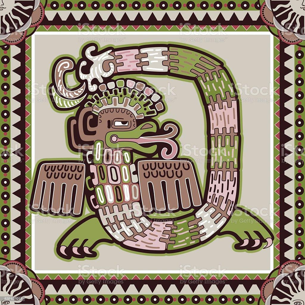 Seamless aztec pattern vector art illustration
