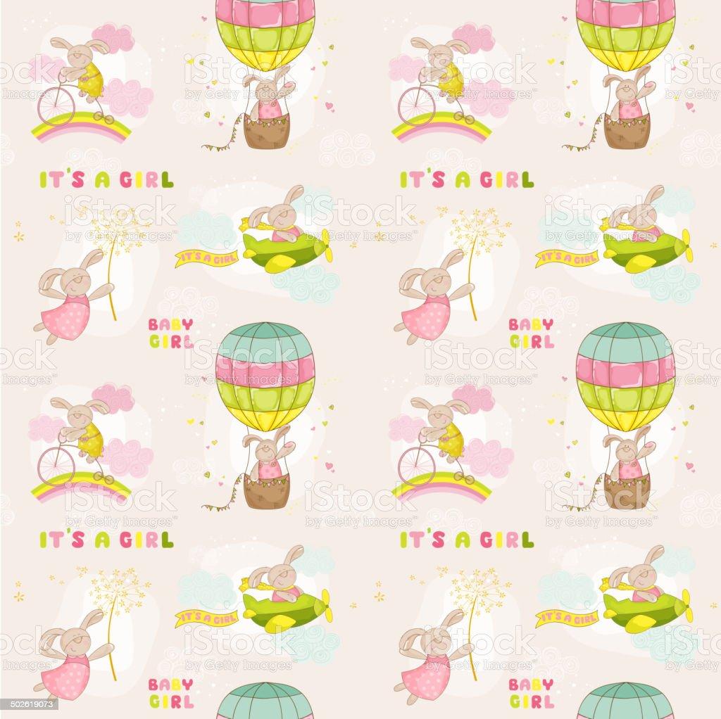 Seamless Baby Bunny Background vector art illustration