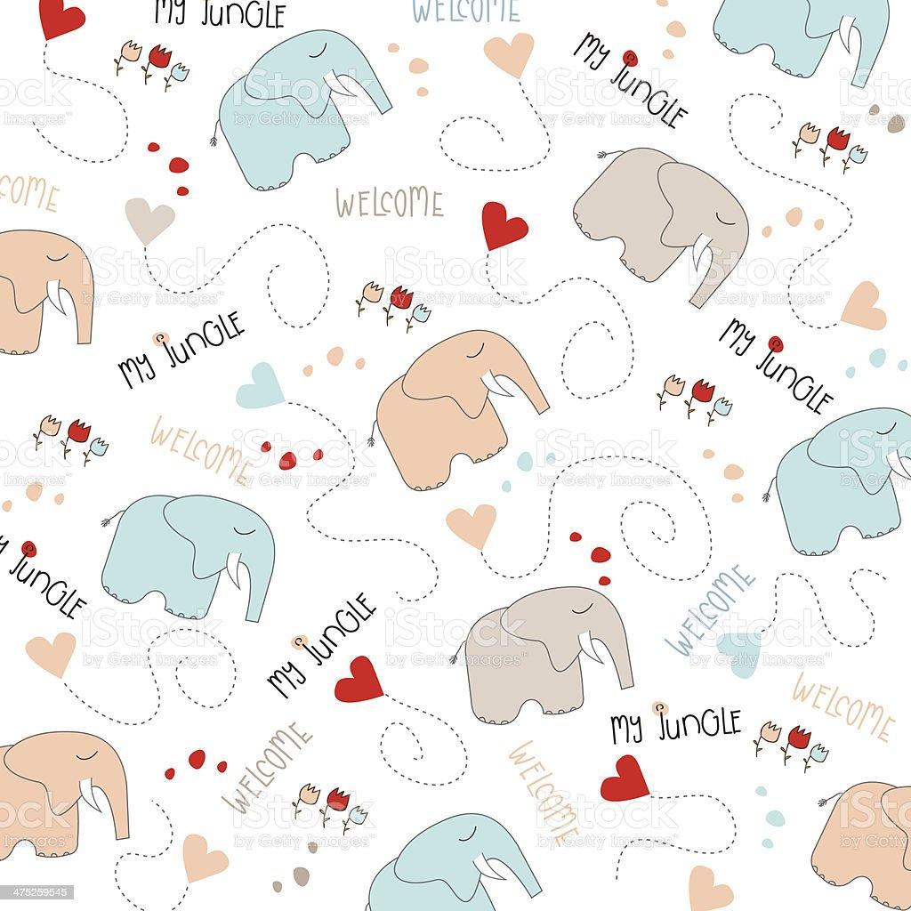 Patrón Sin Costuras Bebé Elefante Illustracion Libre de Derechos ...
