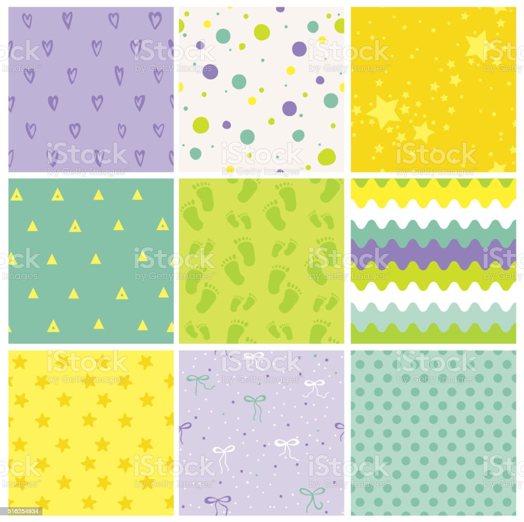 9 Seamless Baby Patterns. Baby Texture. Wallpaper. Vector Background vector art illustration