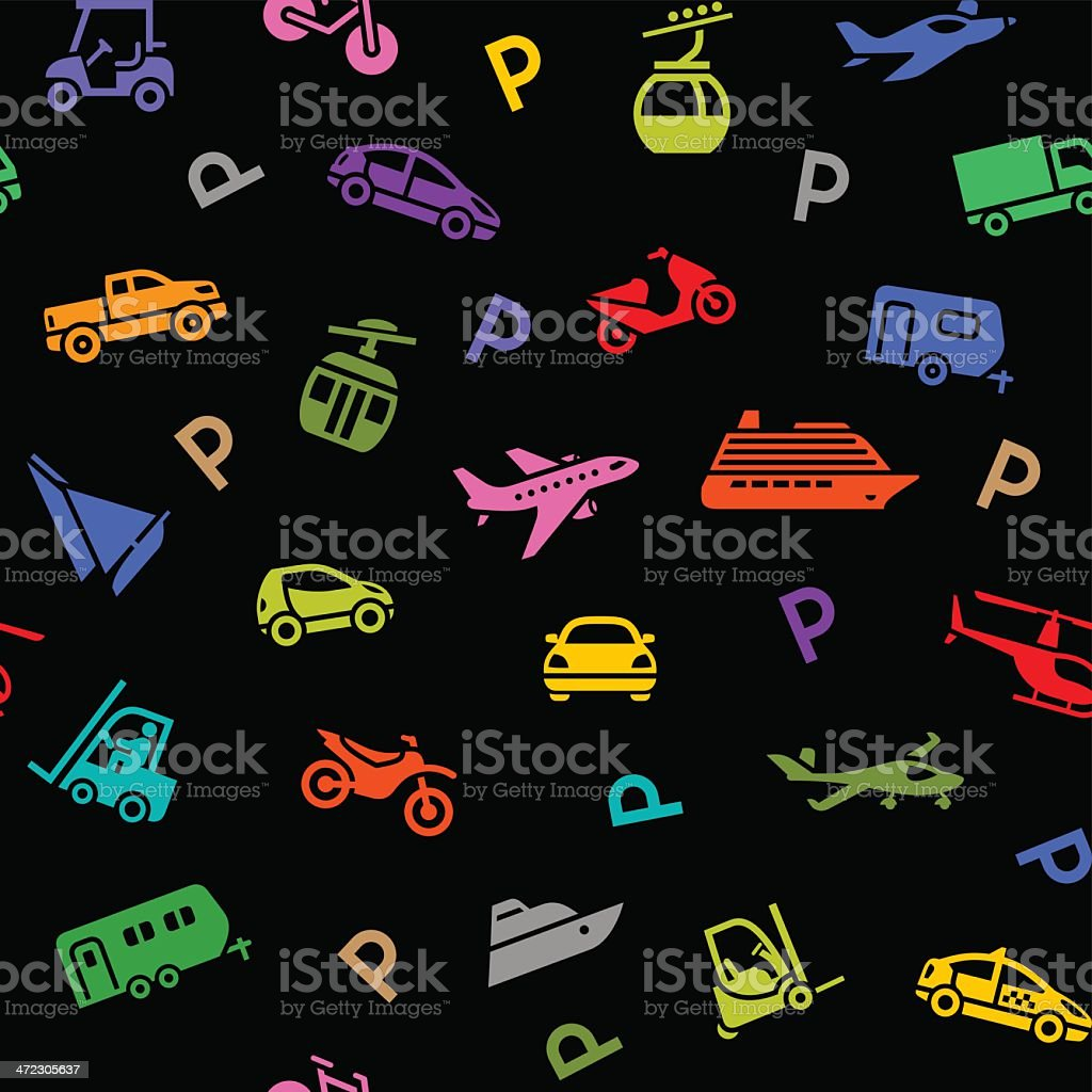 Seamless backdrop, transport colored icons on a black background royalty-free stock vector art