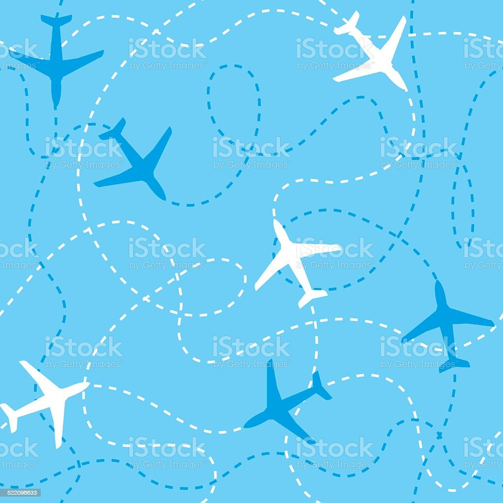 Seamless background airplanes flying with dashed lines as tracks or vector art illustration