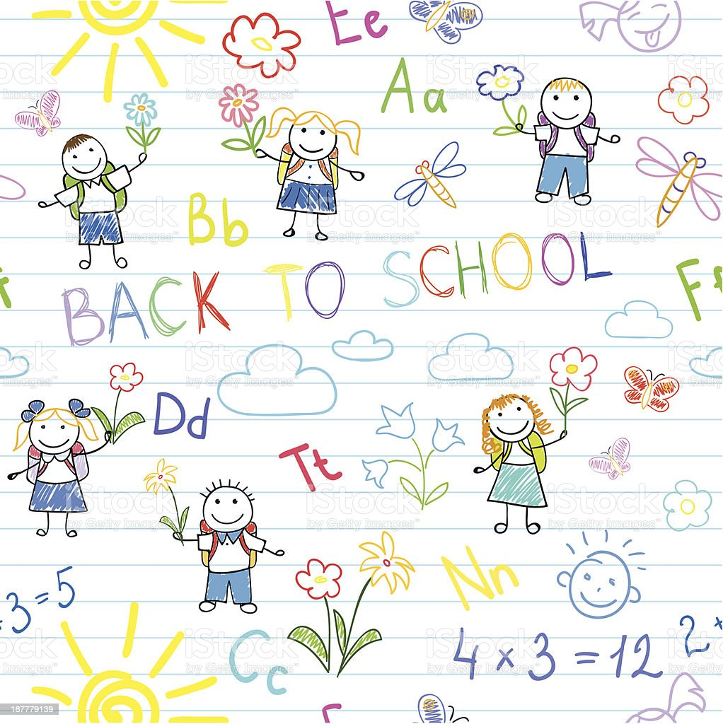 Seamless background. Back to school royalty-free stock vector art