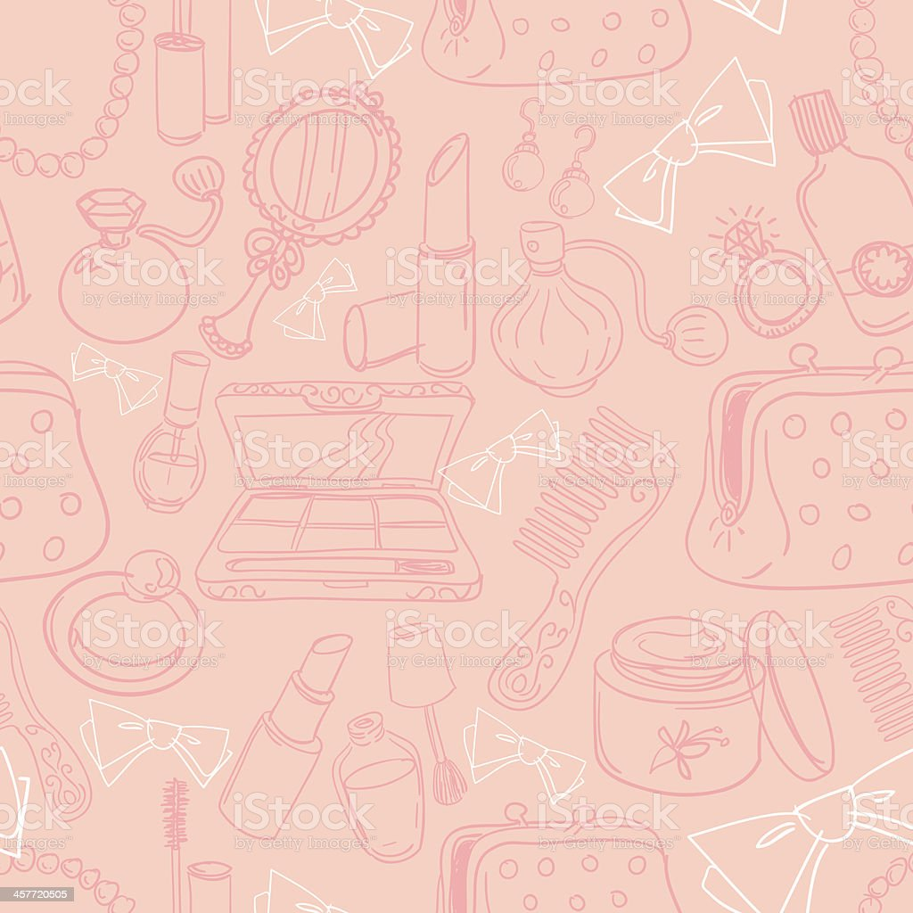 Seamless background - Beauty products vector art illustration