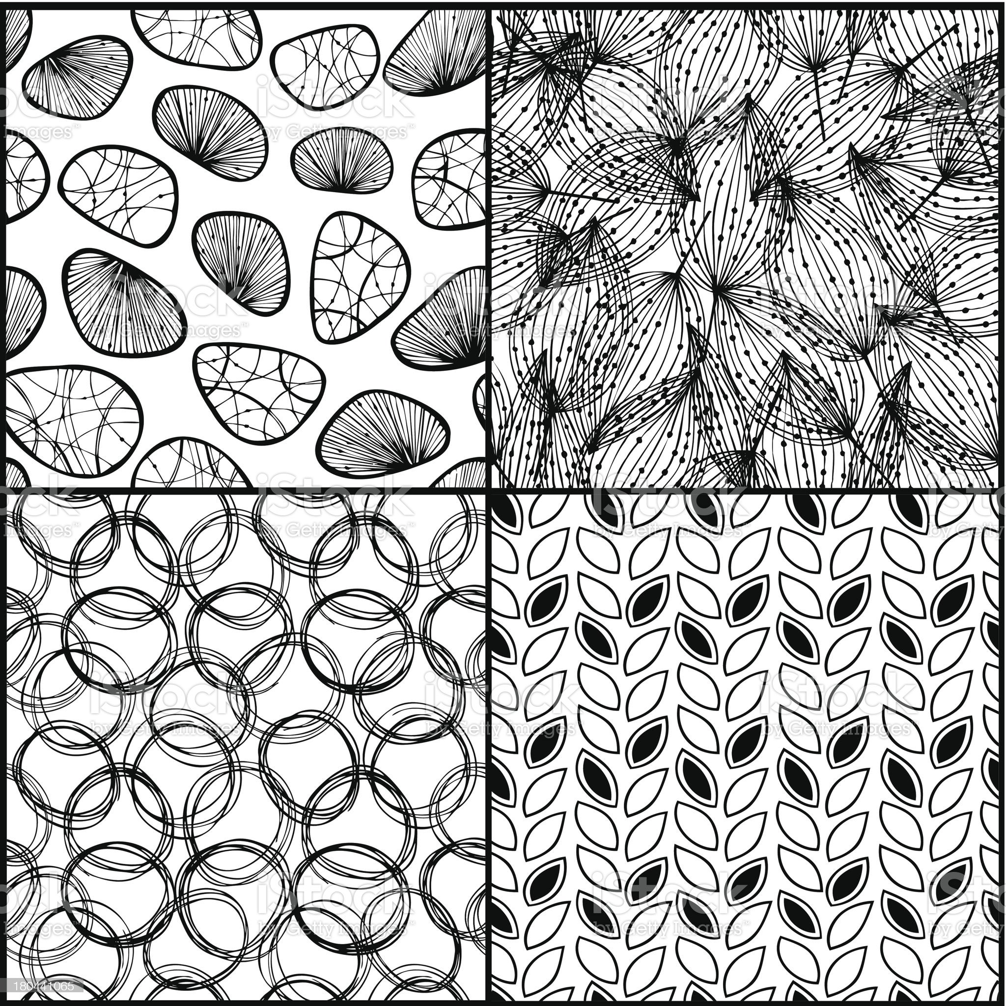 Seamless background black set. Endless patterns collection royalty-free stock vector art