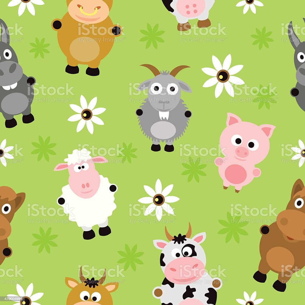 Seamless background card with animals vector art illustration