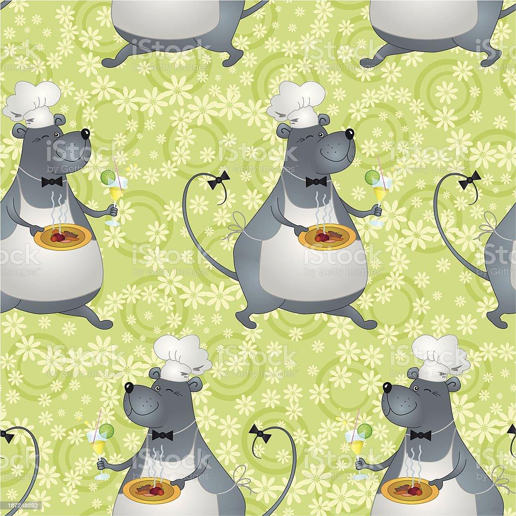 Seamless background, cartoon rat cook royalty-free stock vector art