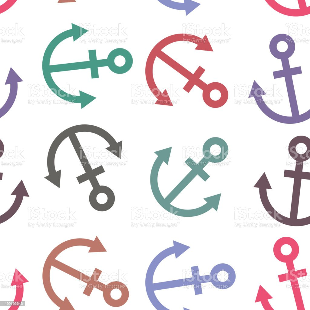 Seamless background. Colorful sea anchor on a white background. royalty-free stock vector art