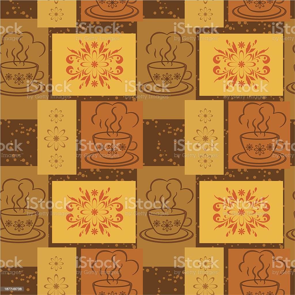 Seamless background, cups and floral pattern royalty-free stock vector art