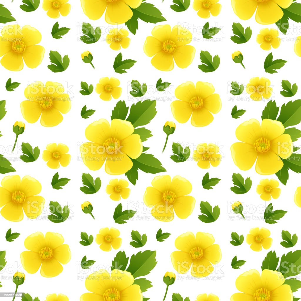 Seamless background design with yellow flowers vector art illustration