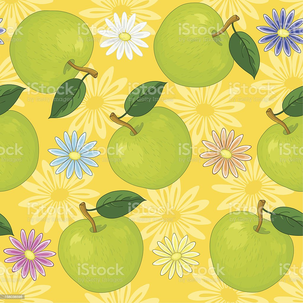 Seamless background, flowers and apples royalty-free stock vector art