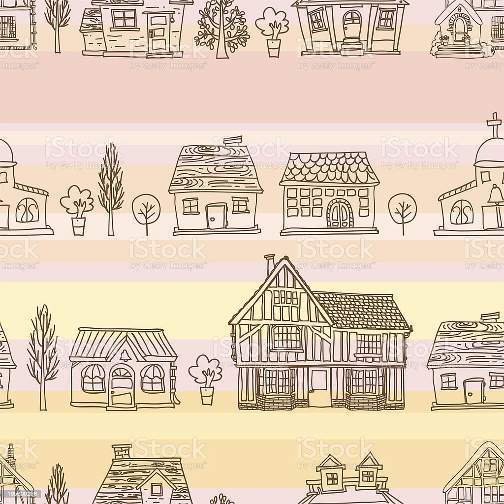 Seamless background - House collection vector art illustration