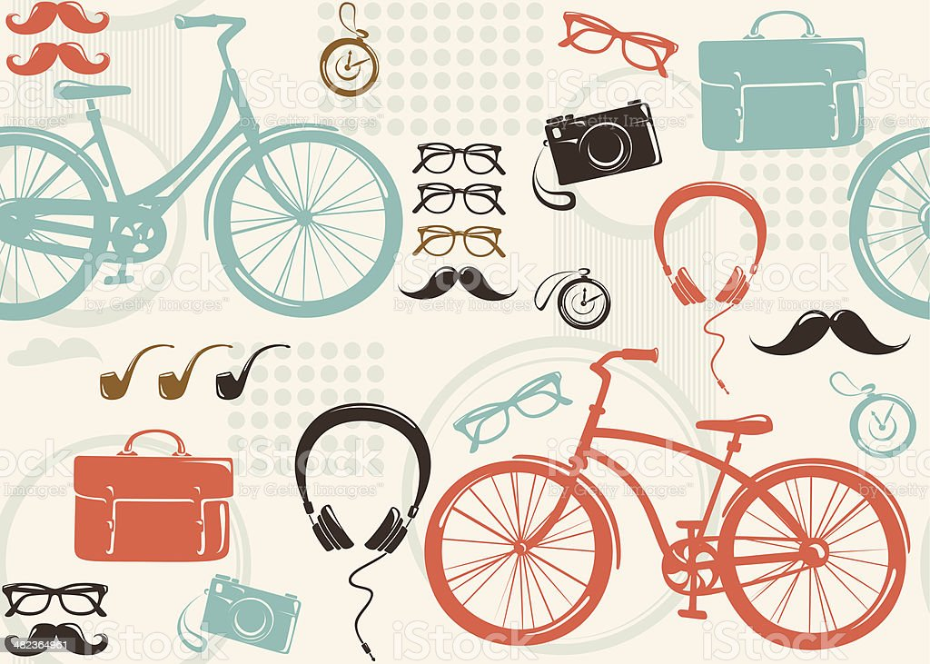 Seamless background in hipster style royalty-free stock vector art