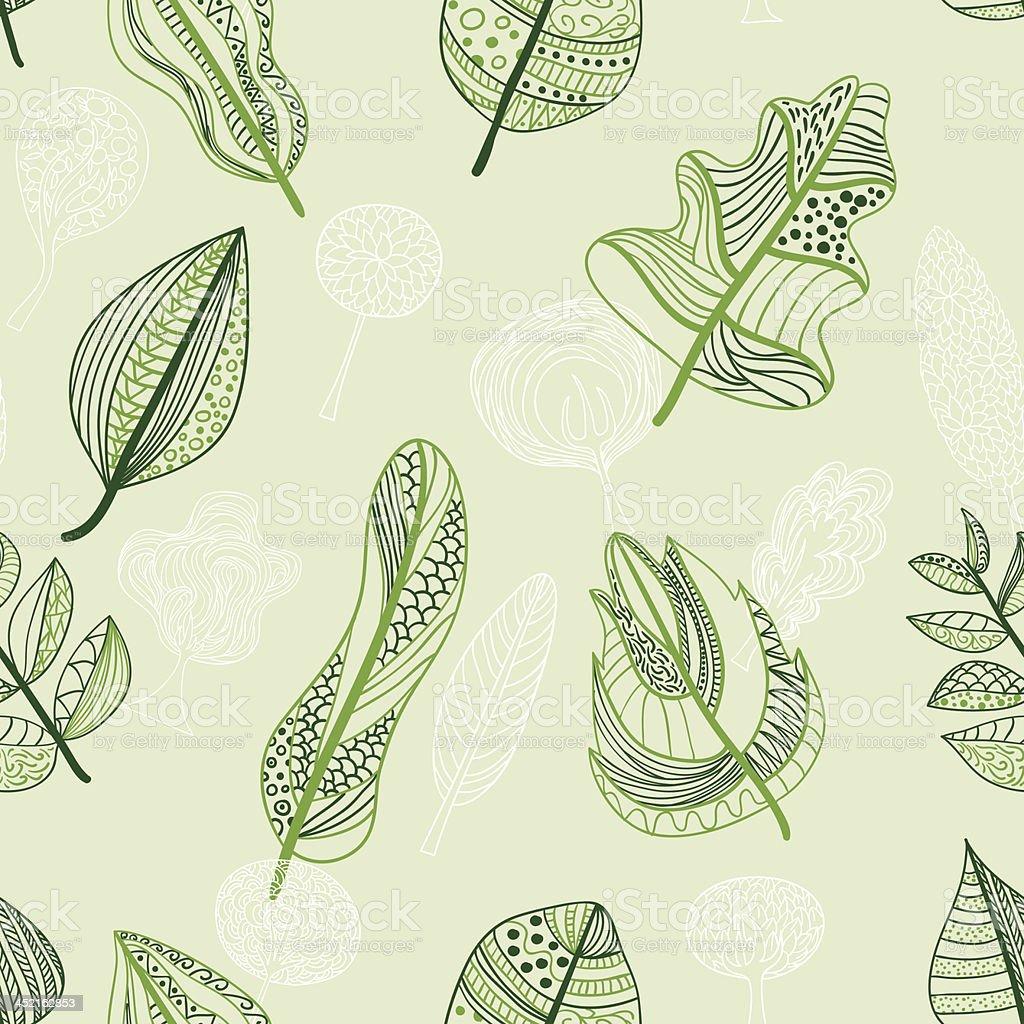 Seamless background -Leaf vector art illustration