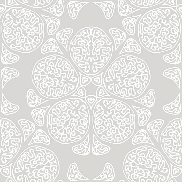 seamless background made of exotic pattern in grey colors vector art illustration - Henna Tattoo Muster