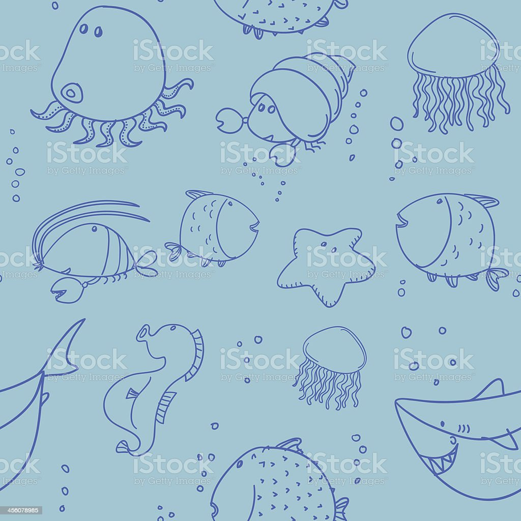 Seamless background - Marine life animals royalty-free stock vector art