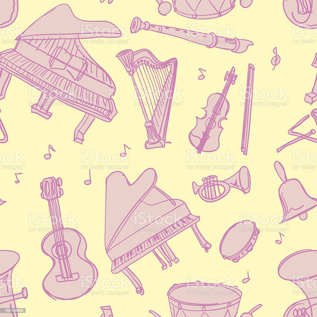 Seamless background - musical instrument royalty-free stock vector art