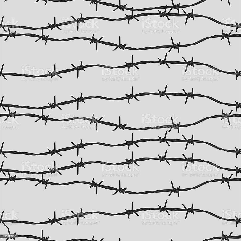 Seamless background of barbed wire vector art illustration