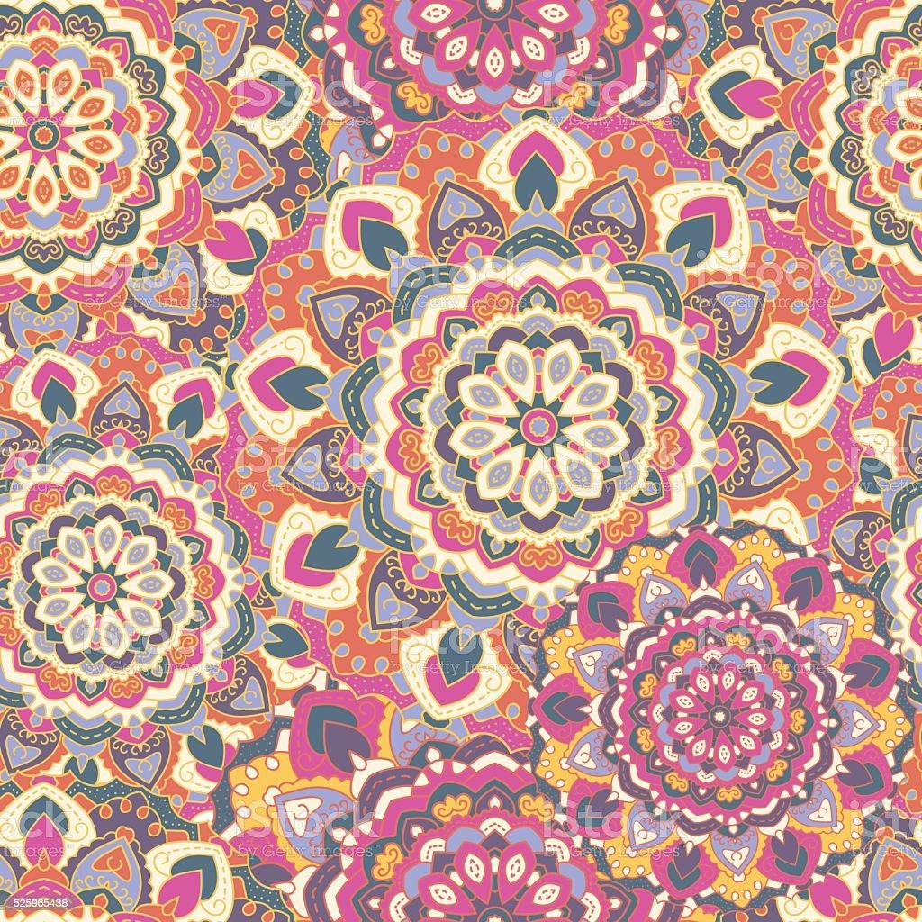 Color art mandala wonders - Seamless Background Of Circular Colored Mandalas Royaltyfree Stock Vector Art With Mandalas En Color