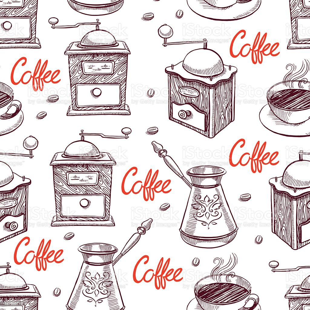 seamless background of coffee vector art illustration