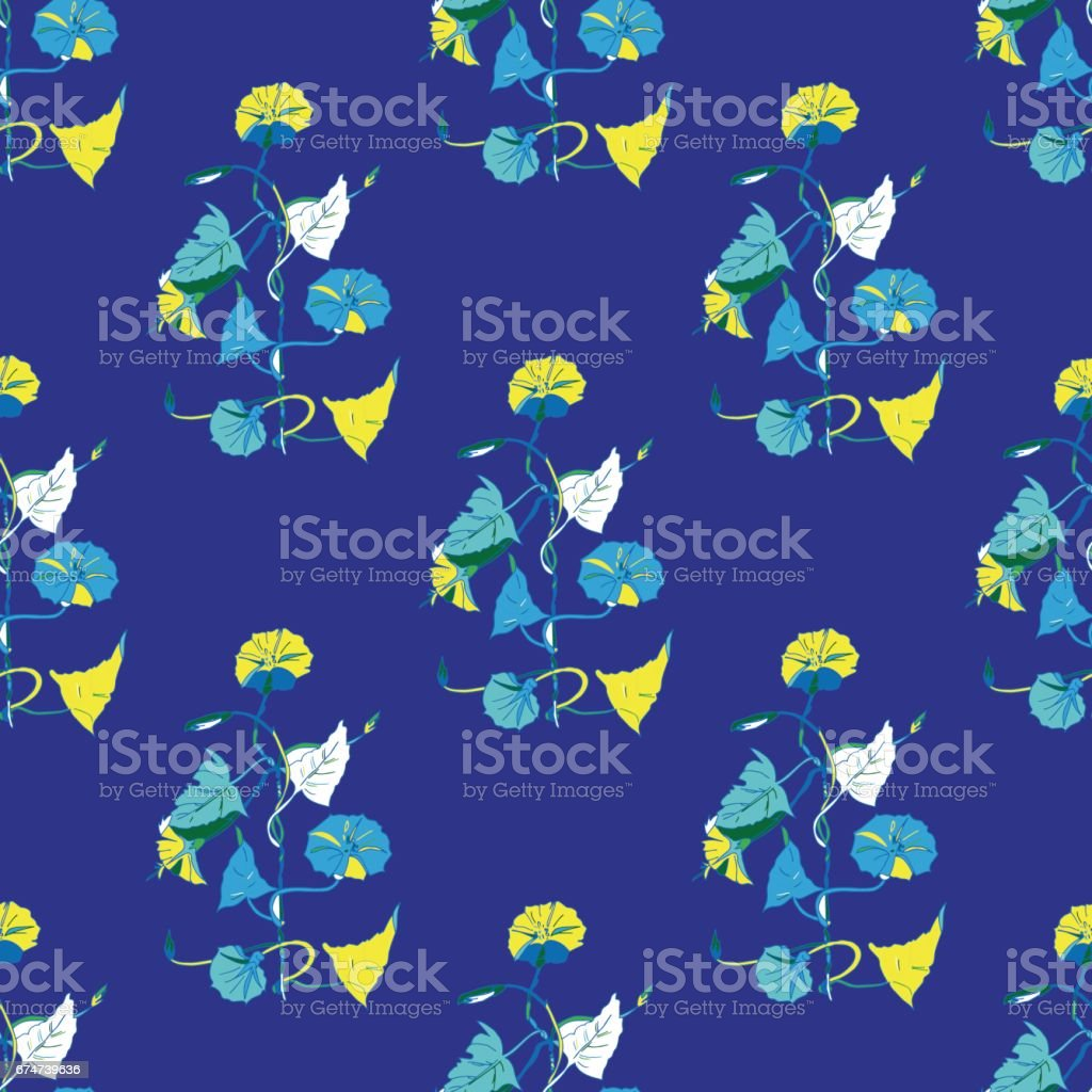 Seamless background of flowers vector art illustration