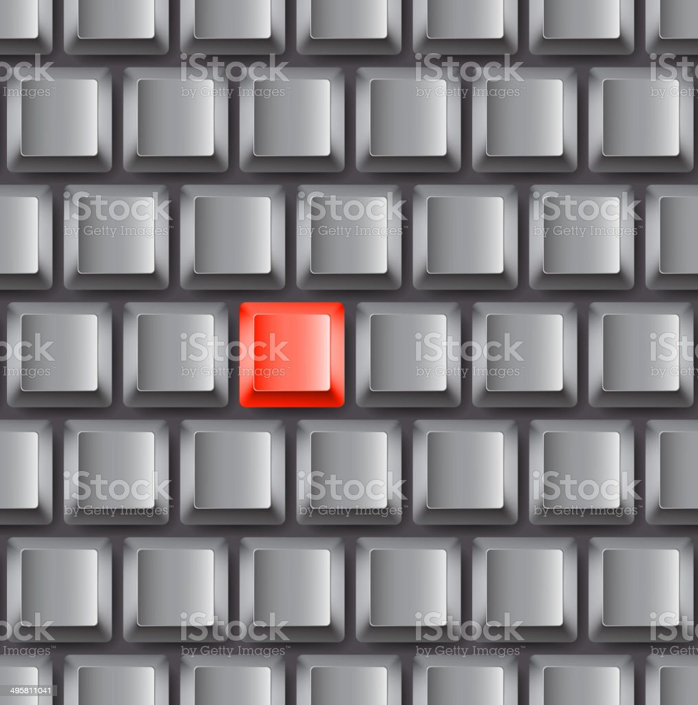Seamless background of grey keyboard with red accent button royalty-free stock vector art