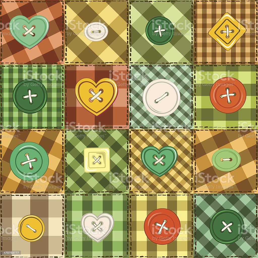 Seamless background of patchworks and buttons royalty-free stock vector art