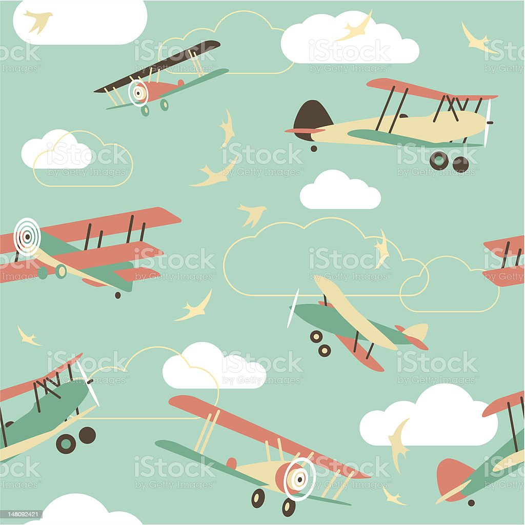 Seamless Background of Vintage Airplanes royalty-free stock vector art