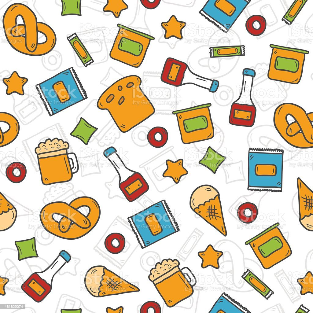 Seamless background on gluten products theme with cute hand drawn vector art illustration