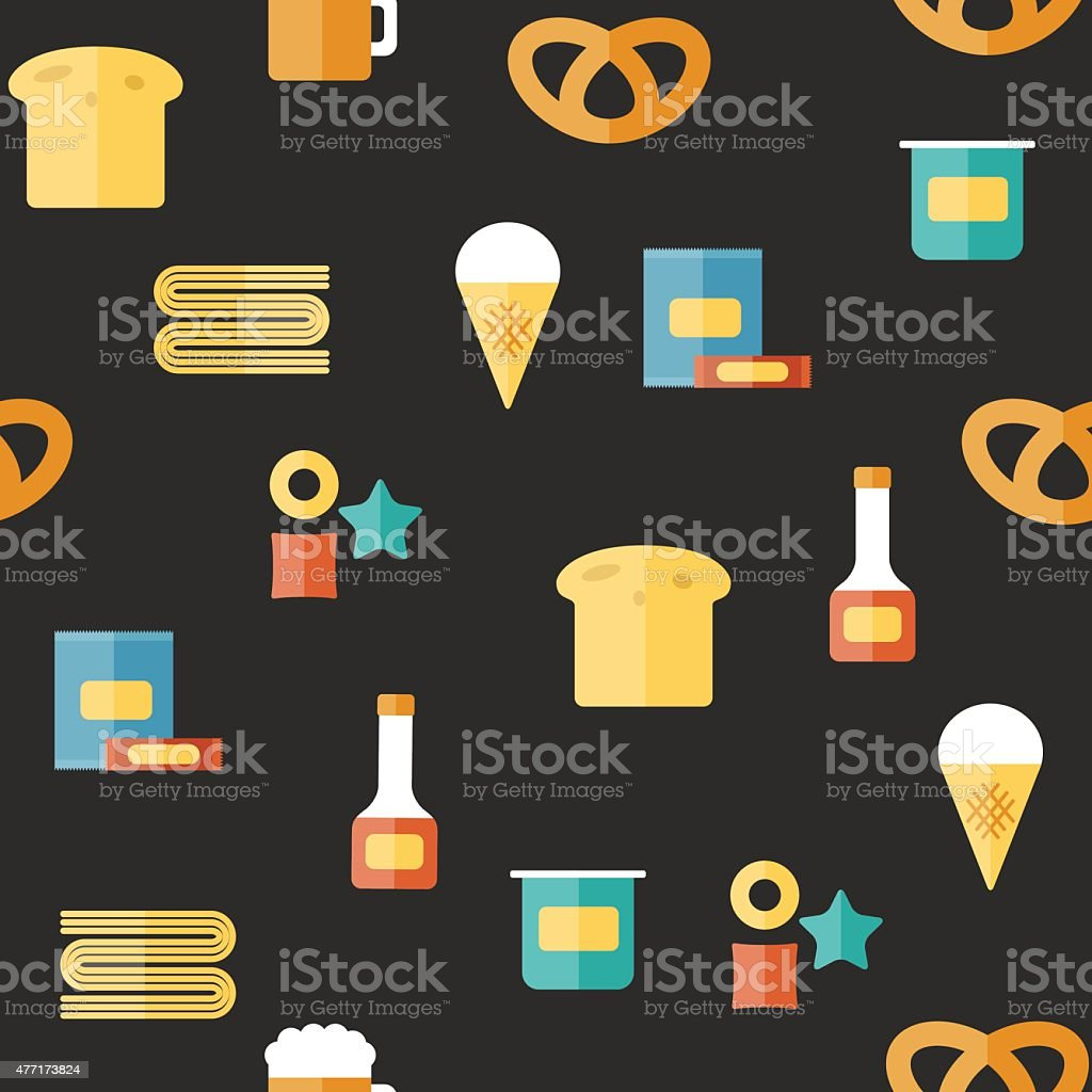 Seamless background on gluten products theme with flat objects: bread vector art illustration