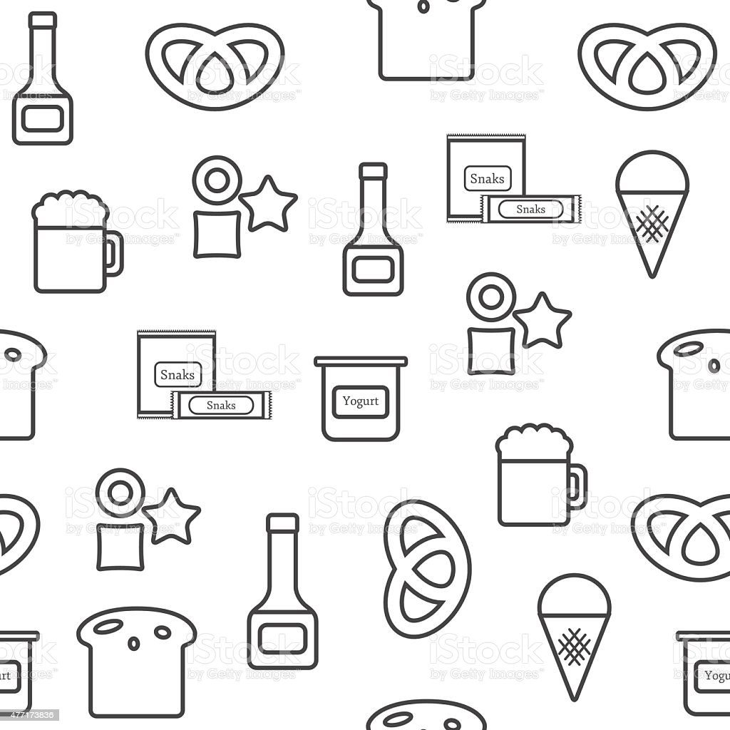 Seamless background on gluten products theme with outline objects: bread vector art illustration