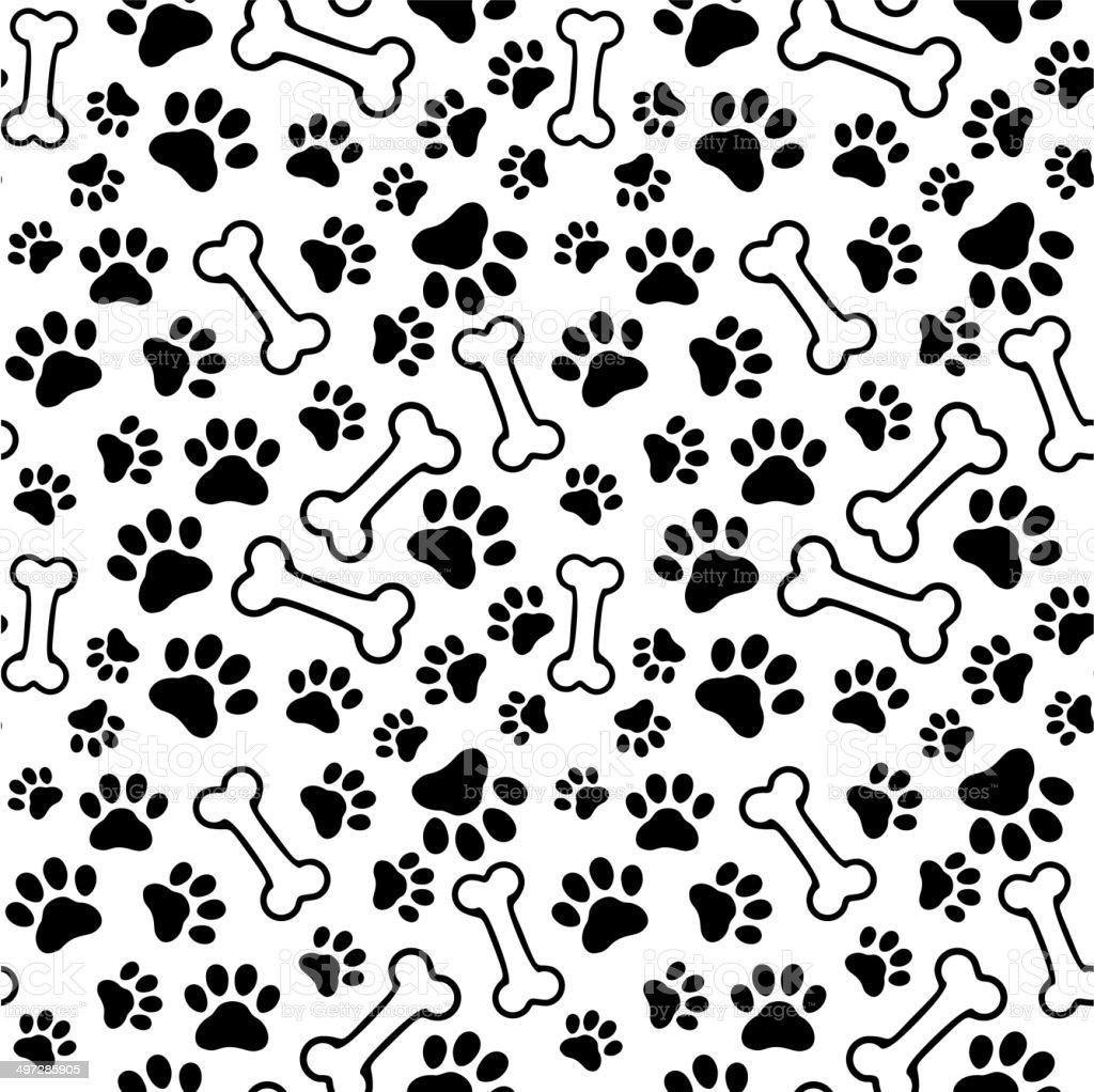 Seamless background - pet paw print and bone vector art illustration