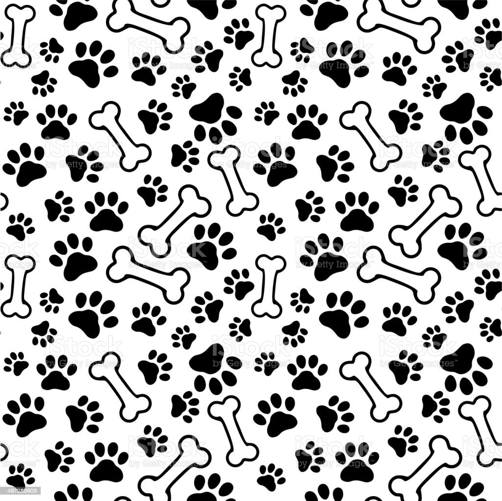 Seamless background - pet paw print and bone vector art illustration