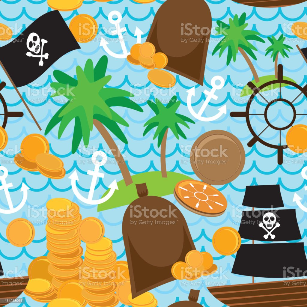 Seamless background pirate island colorful kids retro pattern. vector royalty-free stock vector art