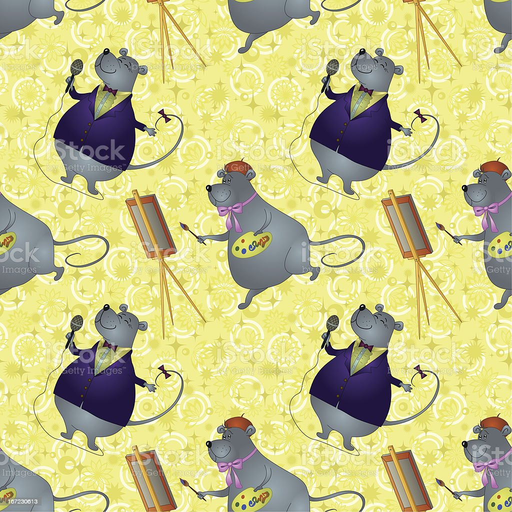 Seamless background, rats artist and singer royalty-free stock vector art
