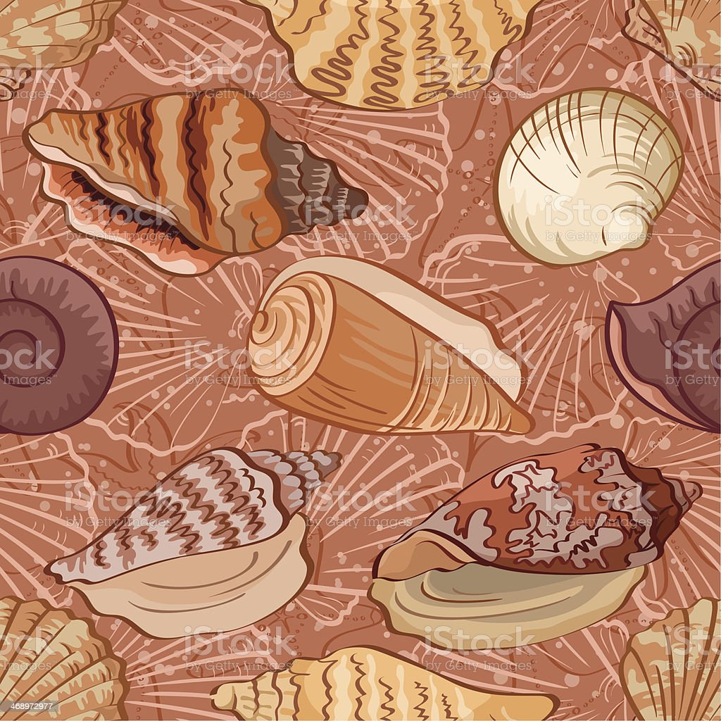 Seamless background, seashells royalty-free stock vector art