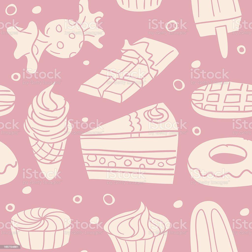 Seamless background - Sweet food vector art illustration