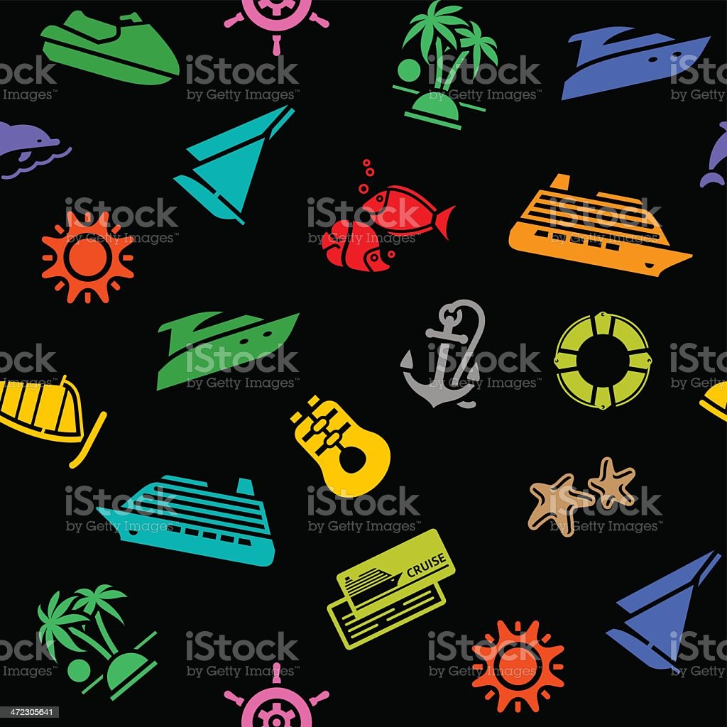 Seamless background, transport colored icons on a black backdrop royalty-free stock vector art