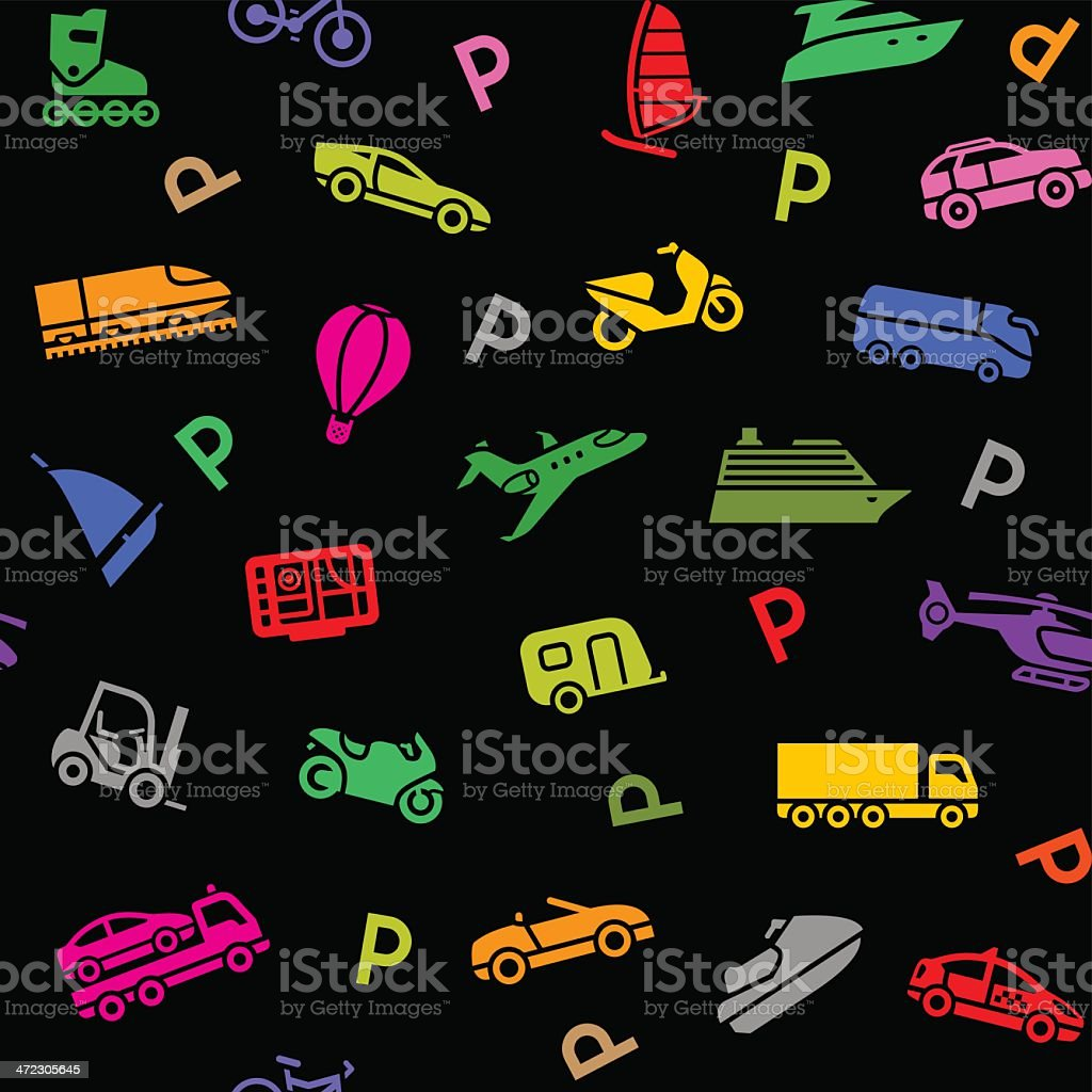 Seamless background, transport colored icons royalty-free stock vector art