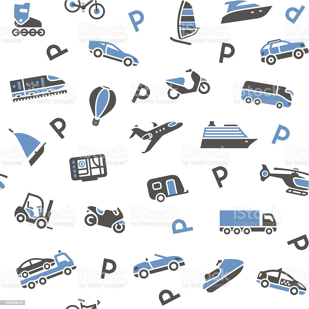 Seamless background transport icons - wrapping paper, 10eps royalty-free stock vector art