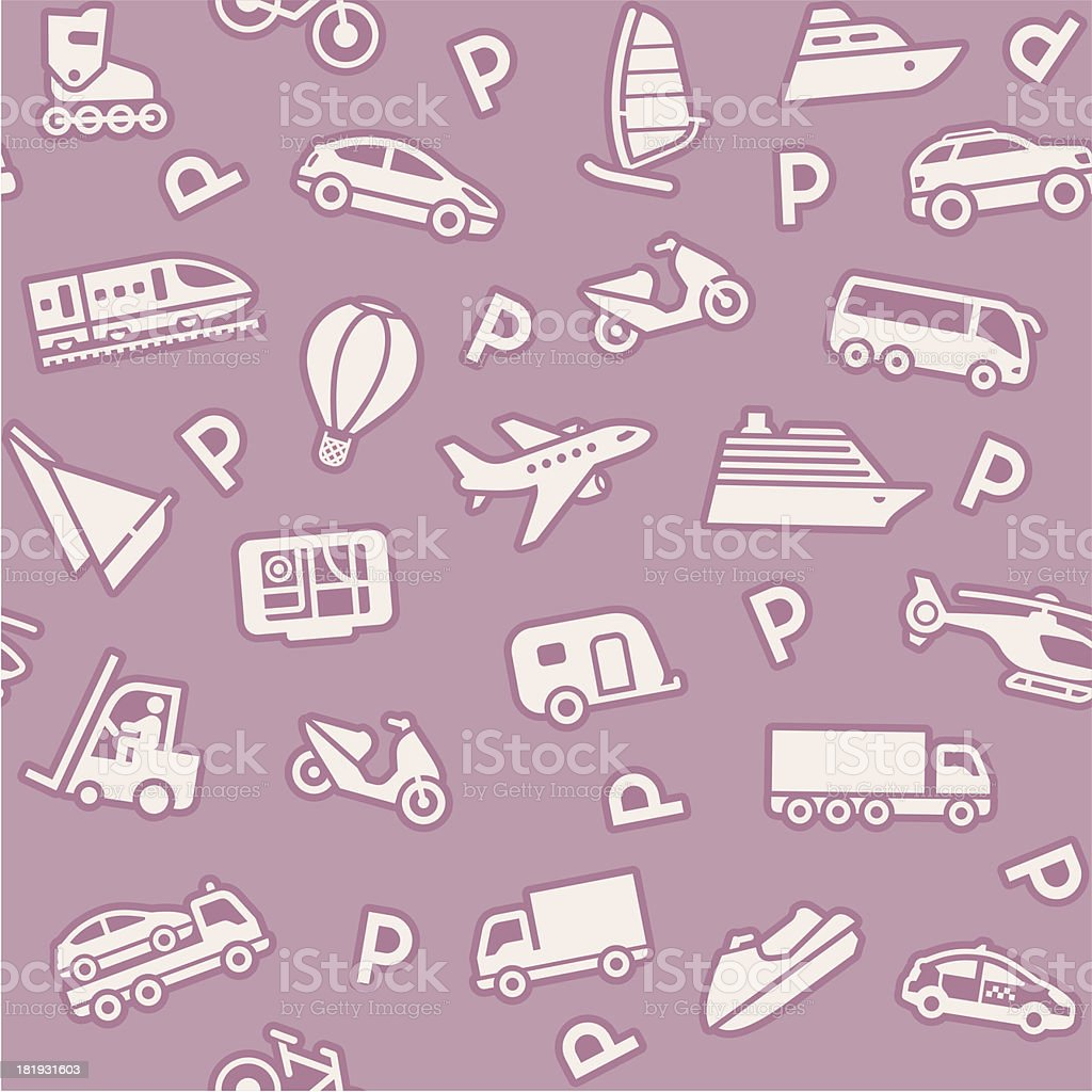 Seamless background, transport icons, wrapping paper royalty-free stock vector art