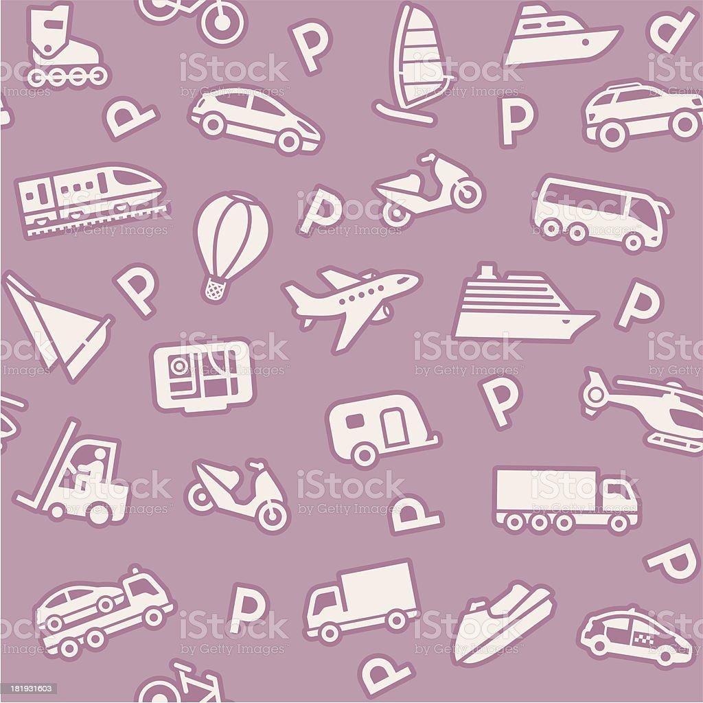 Бесшовный фон, транспорт иконки, Упаковочная бумага векторная иллюстрация
