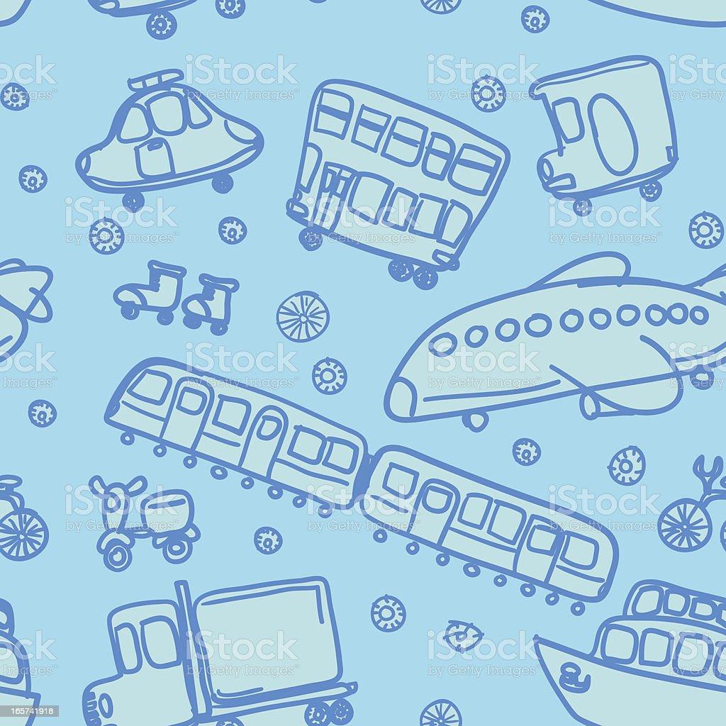 Seamless background - Transportation royalty-free stock vector art